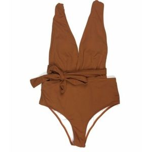NEW Cupshe Large One Piece Brown Orange Swimsuit